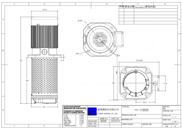 TC-4180 1/4HP Machinery Coolant pump immersion 180mm (7